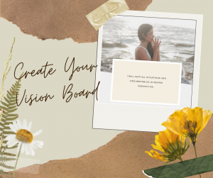 Beige Polaroid Scrapbook page with image of woman and words create your own vision board